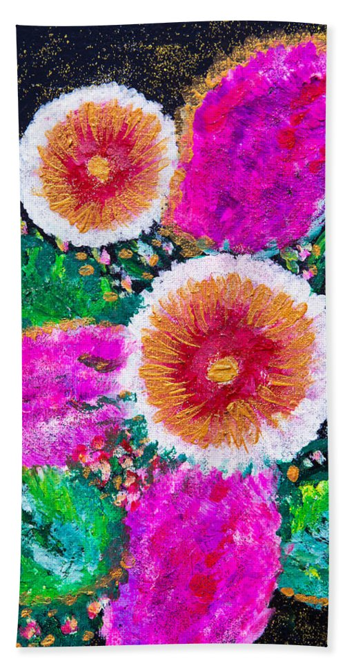 Flowers Bath Sheet featuring the painting Golden-pink by Alex Art and Photo