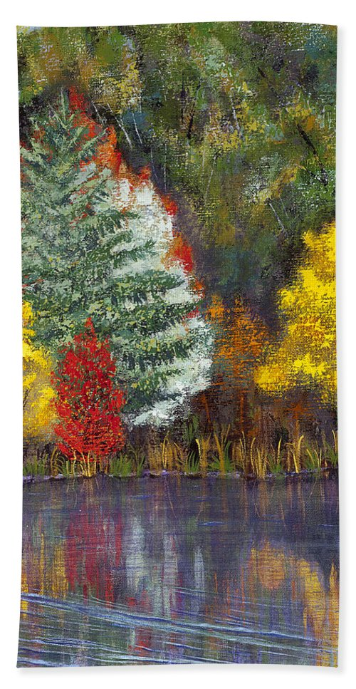 Landscape Bath Sheet featuring the painting Autumn Tapestry by Margaret Bobb