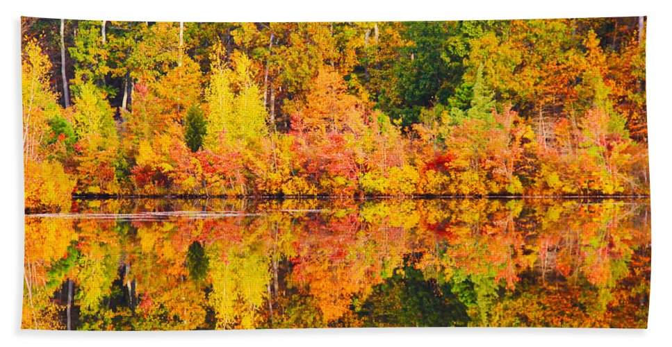 Landscape Hand Towel featuring the photograph Golden Reflection by Roger Becker