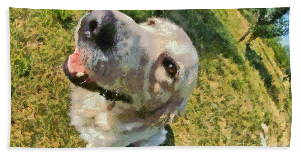 Dog; Golden Retriever; Animal; Sit; Sitting; Rest; Resting; Portrait; Face; Greece; Dogs; Hellas; Greek; Hellenic; Male; White; Paint; Painting; Paintings; Fish-eye; Fisheye Hand Towel featuring the painting Golden Retriever Portrait by George Atsametakis
