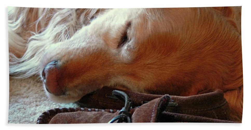 Golden Retriever Hand Towel featuring the photograph Golden Retriever Sleeping With Dad's Slippers by Jennie Marie Schell