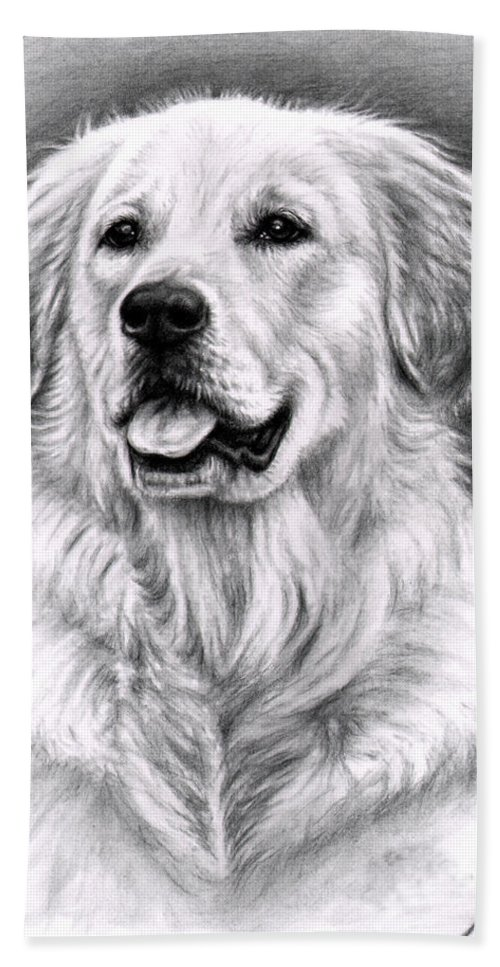 Dog Hand Towel featuring the drawing Golden Retriever Spence by Nicole Zeug