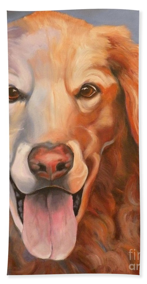 Dogs Bath Sheet featuring the painting Golden Retriever Till There Was You by Susan A Becker