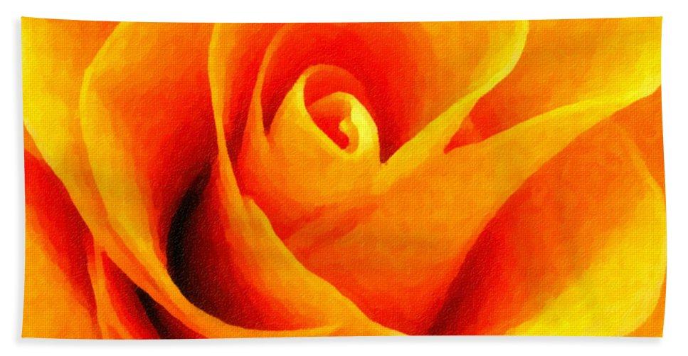 Flower Hand Towel featuring the photograph Golden Rose - Digital Painting Effect by Rhonda Barrett