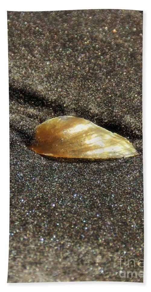 Gold Bath Sheet featuring the photograph Golden Shell by Sharon Woerner