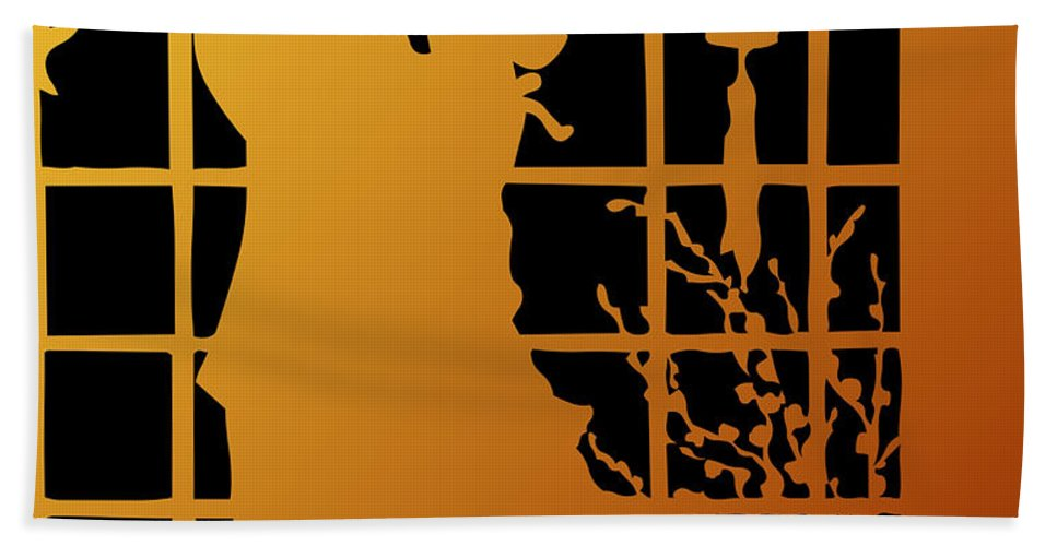 Couples Hand Towel featuring the digital art Golden Silhouette Of Couple Embracing by Rose Santuci-Sofranko