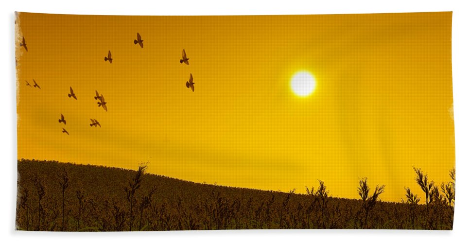 Landscape Hand Towel featuring the digital art Golden Sky... by Tim Fillingim