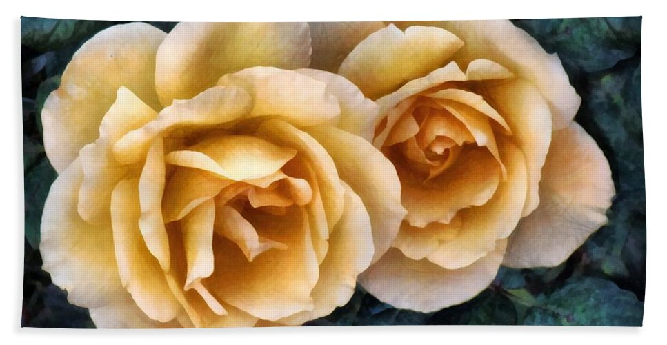 Roses Bath Sheet featuring the painting Golden Smoke by RC DeWinter