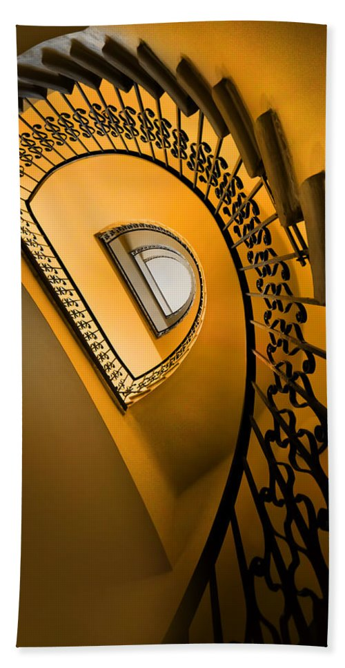 Architecture Spiral Hand Towel featuring the photograph Golden Staircase by Jaroslaw Blaminsky