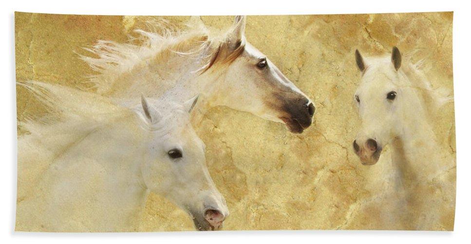 Golden Horses Hand Towel featuring the photograph Golden Steeds by Melinda Hughes-Berland