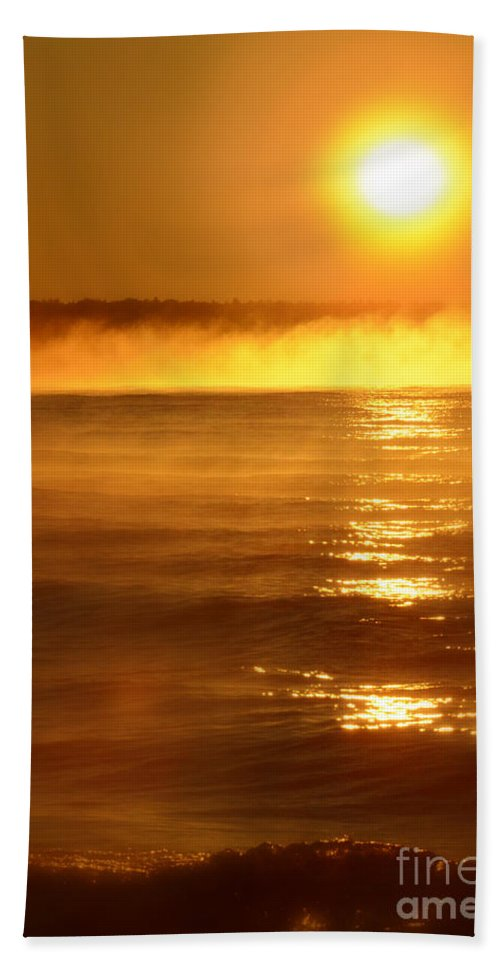 Lake Superior Hand Towel featuring the photograph Golden Sunrise Over The Water by Jill Battaglia