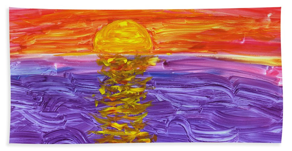 Seascape Bath Sheet featuring the painting Golden Sunset 2 by Mickey Krause