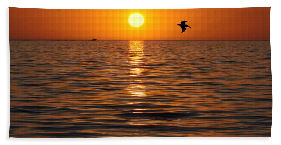 Sunset Bath Sheet featuring the photograph Golden Sunset by Myrna Bradshaw