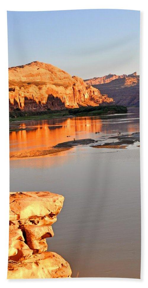 Sunset Hand Towel featuring the photograph Golden Sunset On The Colorado by Marty Koch
