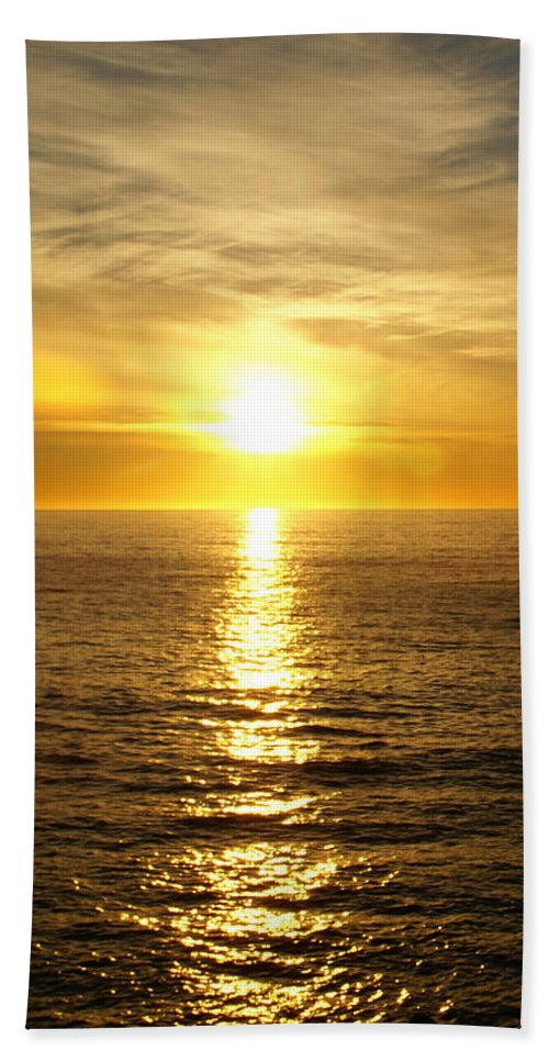 Golden Sunset Pismo Beach Hand Towel featuring the photograph Golden Sunset Pismo Beach by Barbara Snyder