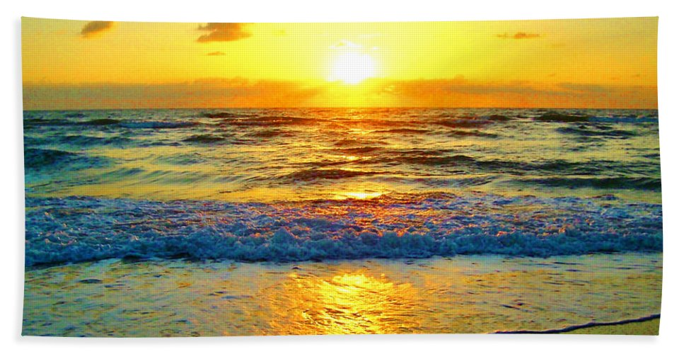 Keri West Hand Towel featuring the photograph Golden Surprise Sunrise by Keri West