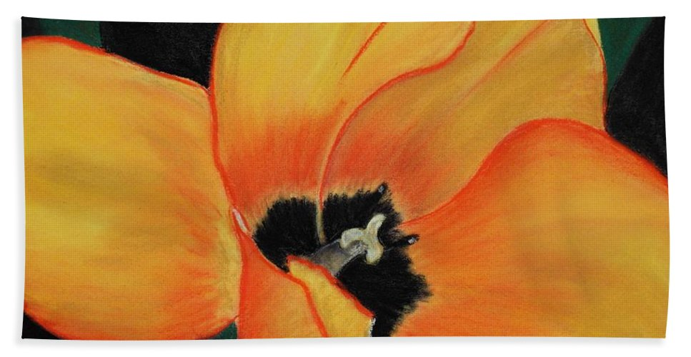 Malakhova Hand Towel featuring the painting Golden Tulip by Anastasiya Malakhova