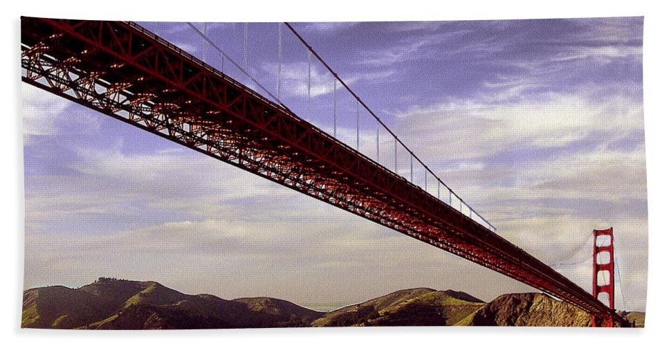 Architecture Bath Sheet featuring the photograph Goldengate Bridge San Francisco by Bob and Nadine Johnston