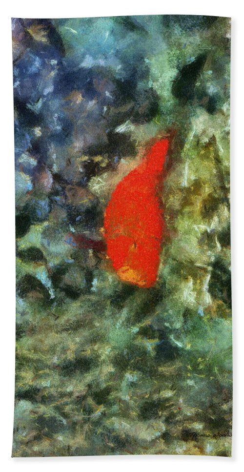 Pet Hand Towel featuring the photograph Goldfish Photo Art 05 by Thomas Woolworth