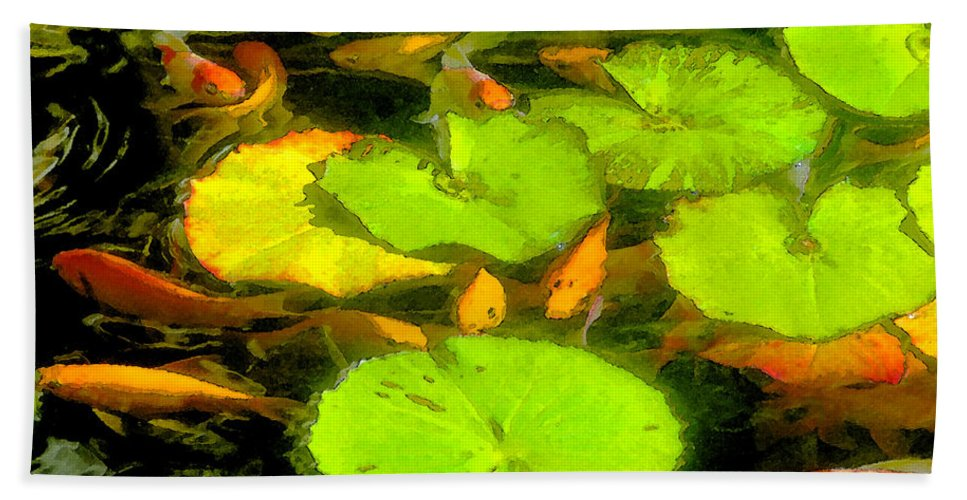 On Goldfish Pond Hand Towel featuring the painting On Goldfish Pond Artwork by David Lee Thompson