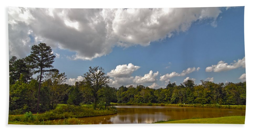 View Bath Sheet featuring the photograph Golf Course Landscape by Alex Grichenko