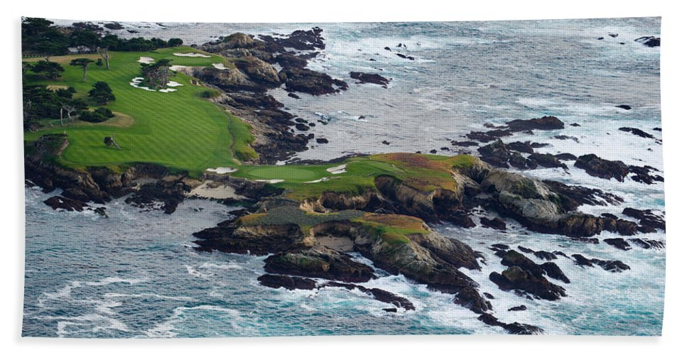 Photography Hand Towel featuring the photograph Golf Course On An Island, Pebble Beach by Panoramic Images