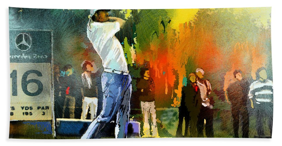 Golf Hand Towel featuring the painting Golf In Gut Laerchehof Germany 01 by Miki De Goodaboom