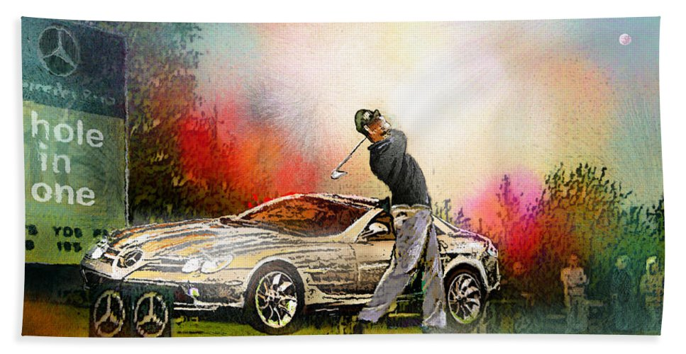Golf Hand Towel featuring the painting Golf In Gut Laerchehof Germany 03 by Miki De Goodaboom