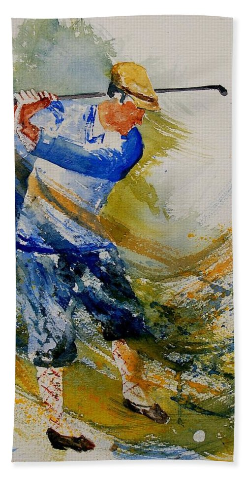 Golf Bath Towel featuring the painting Golf Player by Pol Ledent