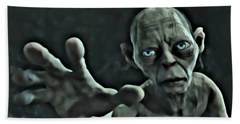 Gollum Bath Sheet featuring the painting Gollum by Florian Rodarte