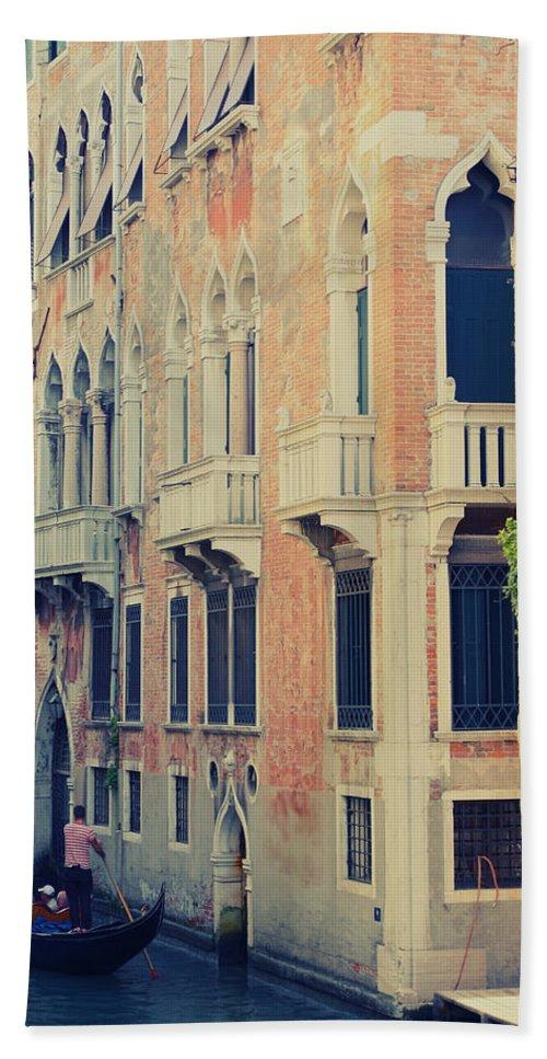 Gondola Hand Towel featuring the photograph Gondola In Venice by Jaroslav Frank