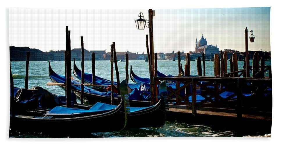 Gondola Hand Towel featuring the photograph Gondolas At Rest by Eric Tressler