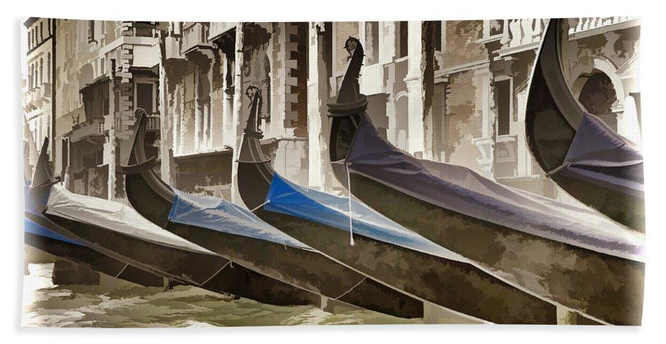 Gondola Bath Sheet featuring the photograph Gondolas-in-waiting  Venice by Jon Berghoff