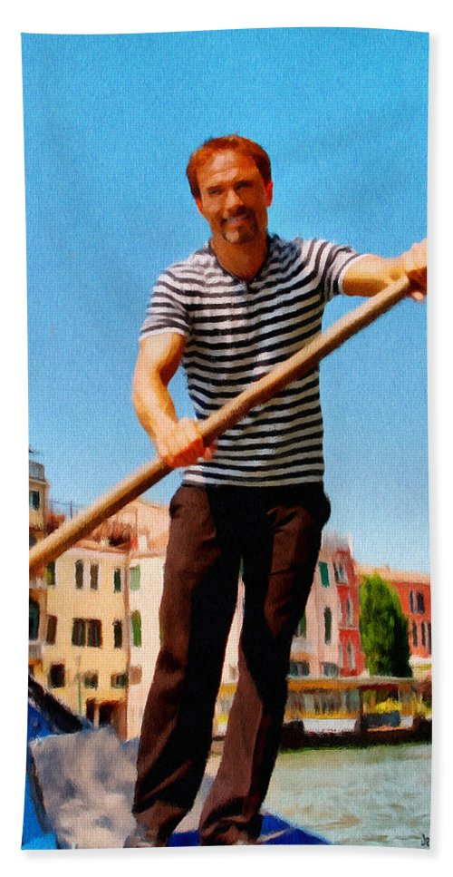 Europe Hand Towel featuring the painting Gondolier by Jeffrey Kolker