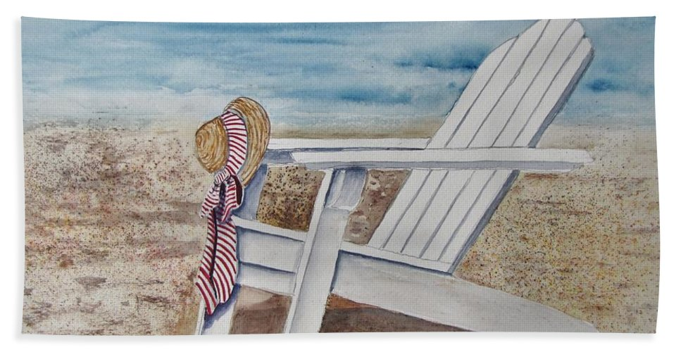 Seascape Bath Sheet featuring the painting Gone For A Walk by Margie Picard