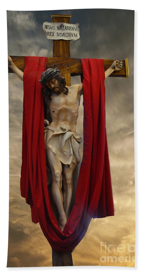 His Ultimate Mercy Bath Sheet featuring the photograph His Ultimate Gift Of Mercy - Jesus Christ by Luther Fine Art