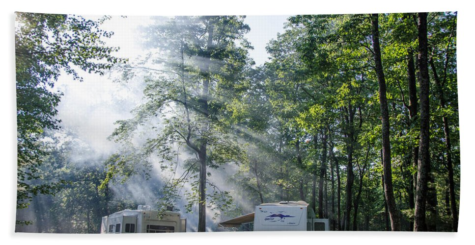 Forest Bath Sheet featuring the photograph Good Morning Campers by Guy Whiteley