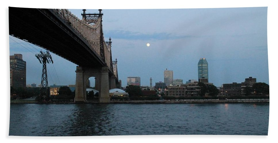 Queensboro Bridge Bath Sheet featuring the photograph Good Night Moon by Catie Canetti