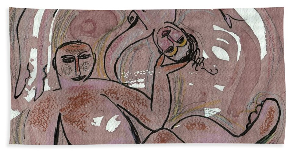 Valentine Gift Bath Towel featuring the painting Good Together by Sue Wright