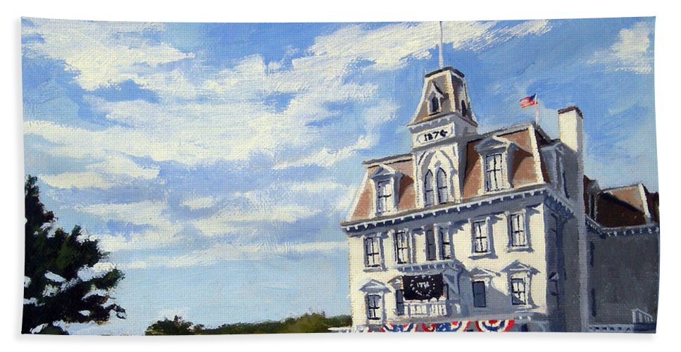 Christine Hopkins Hand Towel featuring the painting Goodspeed Opera House East Haddam Connecticut by Christine Hopkins