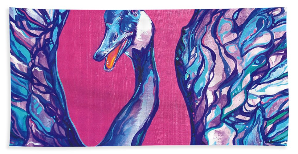 Bird Hand Towel featuring the painting Goose by Derrick Higgins
