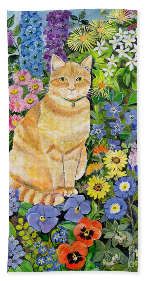Pansy; Delphinium; Brown-eyed Susan; Lupin; Periwinkle; Ginger Tom Hand Towel featuring the painting Gordon S Cat by Hilary Jones