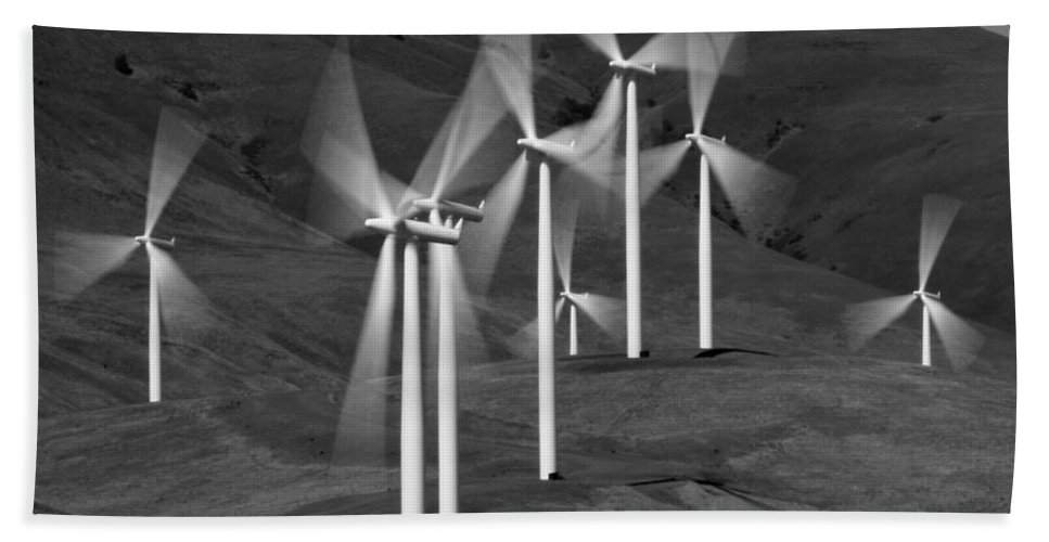 Gorge Windmills Bw Hand Towel featuring the photograph Gorge Windmills B W by Wes and Dotty Weber