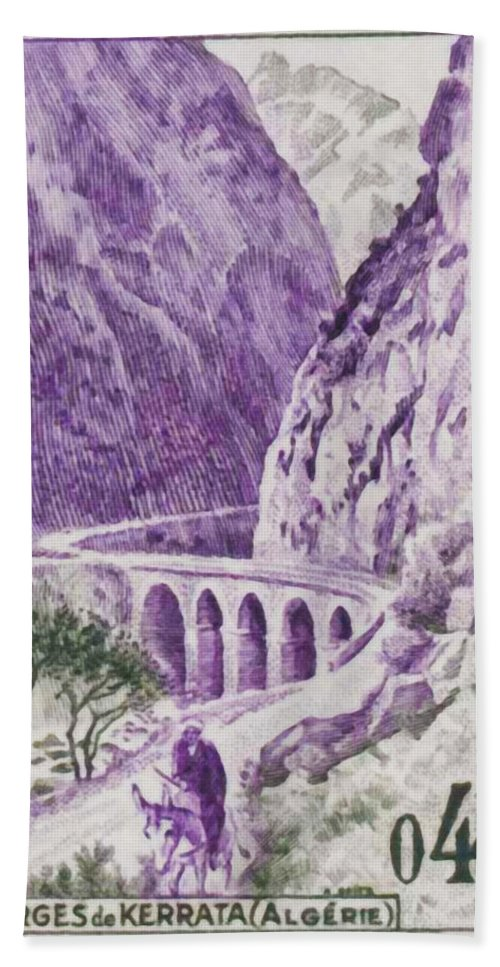 Heritage Bath Sheet featuring the painting Gorges Kerrata by Jeelan Clark
