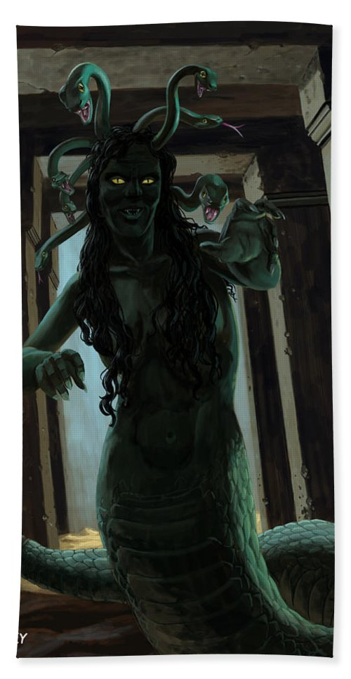 Gorgon Hand Towel featuring the painting Gorgon Medusa by Martin Davey