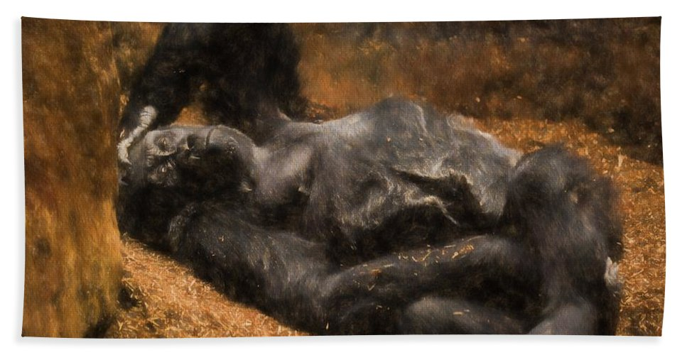 Western Bath Sheet featuring the photograph Gorilla - Painterly by Les Palenik