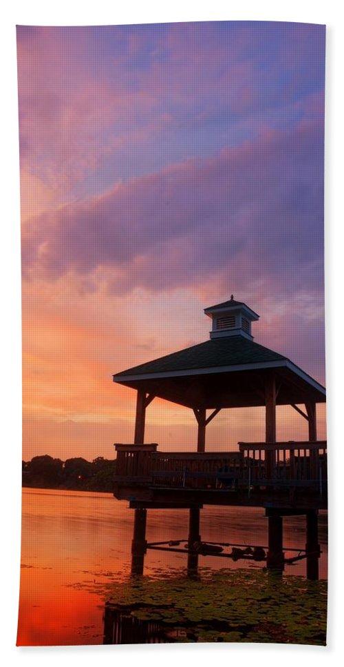 Gorton Pond Sunset Bath Sheet featuring the photograph Gorton Pond Beauty Warwick Rhode Island by Lourry Legarde