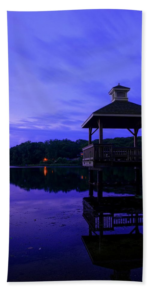 Navy Blue Bath Sheet featuring the photograph Gorton Pond Rhode Island by Lourry Legarde
