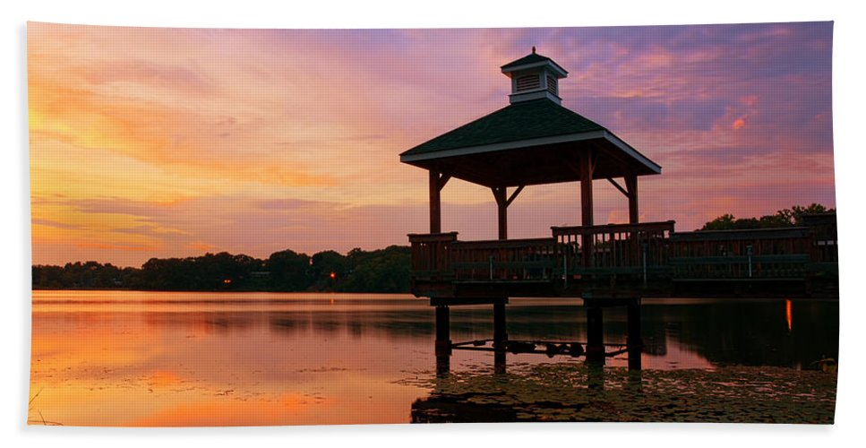 Gorton Pond Sunset Bath Sheet featuring the photograph Gorton Pond Sunset Warwick Rhode Island by Lourry Legarde