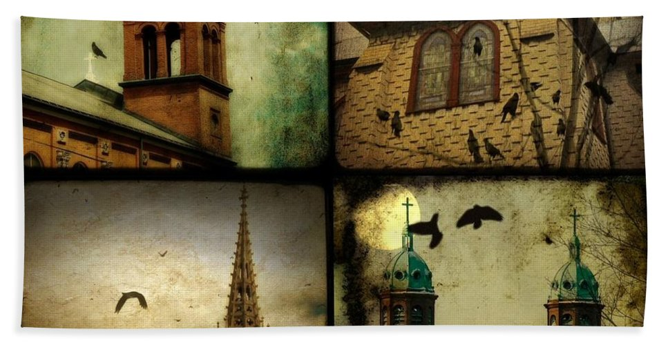 Collage Bath Sheet featuring the photograph Gothic Churches And Crows by Gothicrow Images